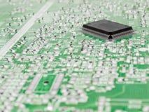 Tarjeta de circuitos con un chip de silicio Fotografía de archivo libre de regalías