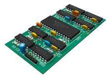 Tarjeta de circuitos de Digitaces con los microchipes Foto de archivo libre de regalías