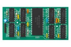 Tarjeta de circuitos de Digitaces con los microchipes Fotos de archivo libres de regalías