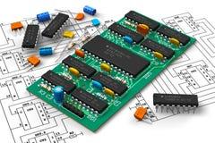 Tarjeta de circuitos de Digitaces con los microchipes Imagen de archivo