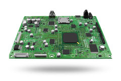Tarjeta de circuitos electrónicos con el procesador Imagenes de archivo