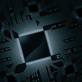 Tarjeta de circuitos electrónicos con la viruta stock de ilustración
