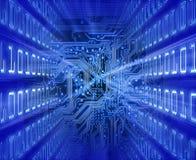Tarjeta de circuitos (energía azul). ilustración del vector