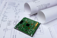 Tarjeta de circuitos impresos, esquema circular, software fotos de archivo