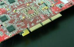 Tarjeta de circuitos roja Foto de archivo libre de regalías