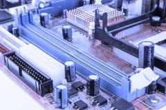 Tarjeta de circuitos Tecnología electrónica del hardware Microprocesador digital de la placa madre Fondo de la ciencia de la tecn fotografía de archivo