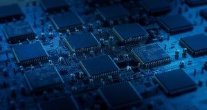 Tarjeta de circuitos Tecnología electrónica del hardware Microprocesador digital de la placa madre Fondo de la ciencia EDA de la  ilustración del vector