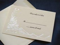 Tarjeta de contestación de la boda fotografía de archivo libre de regalías