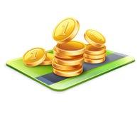 Tarjeta de crédito con las monedas Foto de archivo