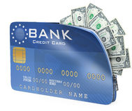 tarjeta de crédito 3D por completo del billete de dólar Imagen de archivo libre de regalías