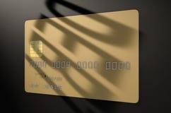 Tarjeta de crédito de la sombra de la deuda Fotografía de archivo