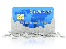 Tarjeta de crédito debajo de la pared derrumbada libre illustration