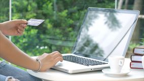 Tarjeta de crédito el mecanografiar joven y de la transacción de la mujer en el ordenador portátil Foto de archivo