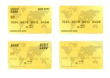 Tarjeta de crédito en el fondo blanco en cuatro variaciones Imagen de archivo libre de regalías