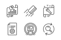Tarjeta de crédito, llave inglesa y sistema técnico de los iconos de la documentación Documento del informe, subterráneo del metr stock de ilustración