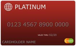 Tarjeta de crédito roja del platino Fotografía de archivo libre de regalías