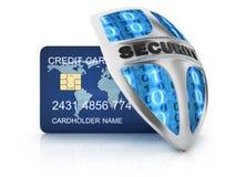 Tarjeta de crédito y escudo de la seguridad Imagenes de archivo