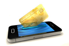 Tarjeta de crédito y teléfono móvil Fotografía de archivo libre de regalías