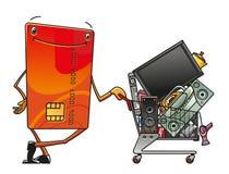Tarjeta de crédito con el carro de la compra Imagenes de archivo