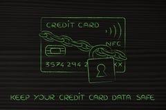 Tarjeta de crédito con la cerradura y cadena como seguridad divertida del pago Imagenes de archivo