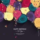 Tarjeta de cumpleaños colorida del vector con los globos de papel Fotos de archivo libres de regalías