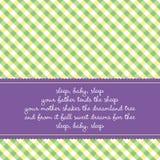Tarjeta de cumpleaños con arrullo del bebé stock de ilustración