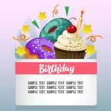 Tarjeta de cumpleaños con bocados lindos ilustración del vector