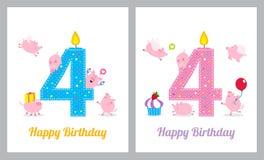 Tarjeta de cumpleaños con el cerdo lindo libre illustration