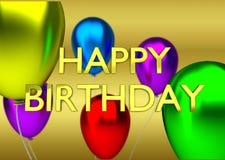 Tarjeta de cumpleaños con el fondo de oro, muestra y ilustración del vector