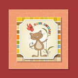 Tarjeta de cumpleaños con el gato Imagen de archivo libre de regalías