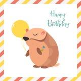 Tarjeta de cumpleaños con el hámster y el globo Fotos de archivo