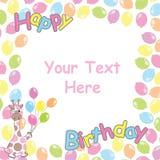 Tarjeta de cumpleaños con el marco lindo de la jirafa y de los globos Imágenes de archivo libres de regalías
