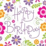 Tarjeta de cumpleaños con el modelo de flores hermoso Imagen de archivo