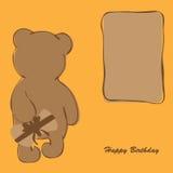 Tarjeta de cumpleaños con el oso Imagen de archivo libre de regalías