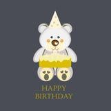 Tarjeta de cumpleaños con el oso de peluche Imagenes de archivo