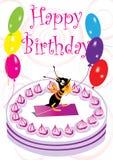 Tarjeta de cumpleaños con la abeja y el globo Foto de archivo