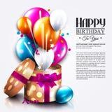 Tarjeta de cumpleaños con la caja de regalo abierta, globos y Imagen de archivo libre de regalías