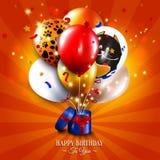 Tarjeta de cumpleaños con la caja de regalo abierta, globos y Fotos de archivo
