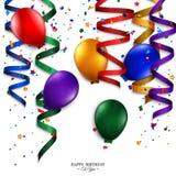 Tarjeta de cumpleaños con la corriente que se encrespa, confeti, Fotografía de archivo