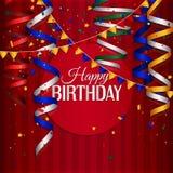 Tarjeta de cumpleaños con la corriente que se encrespa, confeti y Fotos de archivo