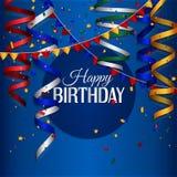 Tarjeta de cumpleaños con la corriente que se encrespa, confeti y Imagen de archivo