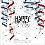 Tarjeta de cumpleaños con la corriente que se encrespa, confeti y Fotos de archivo libres de regalías