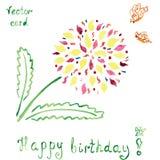 Tarjeta de cumpleaños con la flor brillante del absctract y Fotografía de archivo libre de regalías