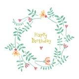 Tarjeta de cumpleaños con la guirnalda floral Foto de archivo