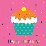 Tarjeta de cumpleaños con la magdalena Fotos de archivo libres de regalías