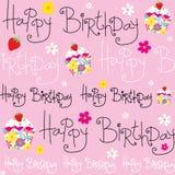 Tarjeta de cumpleaños con la magdalena linda Foto de archivo libre de regalías