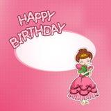 Tarjeta de cumpleaños con la pequeña princesa Imagenes de archivo
