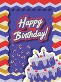 Tarjeta de cumpleaños con la torta y las chispas imágenes de archivo libres de regalías