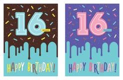 Tarjeta de cumpleaños con la vela de la celebración del número 16 libre illustration