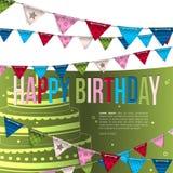 Tarjeta de cumpleaños con las banderas del empavesado Imagenes de archivo